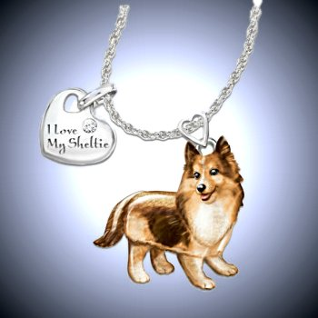 Dog Lovers Diamond Pendant Necklace: Playful Pup - Sheltie