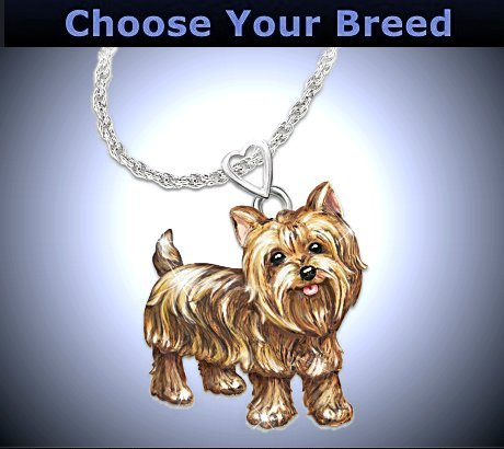 Dog Lovers Diamond Pendant Necklace: Playful Pup - Yorkie