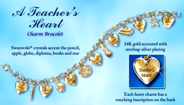 A Teacher's Heart Engraved Charm Bracelet: Thank-You Gift for Educators