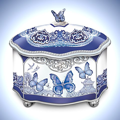 Blue Willow Inspired Flights Of Love Butterfly Music Box