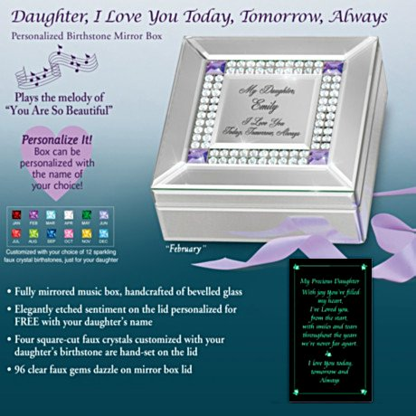Daughter, I Love You Today, Tomorrow, Always Personalized Music Box