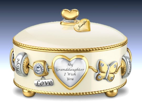 Granddaughter, I Wish You - Heirloom Porcelain Personalized Music Box