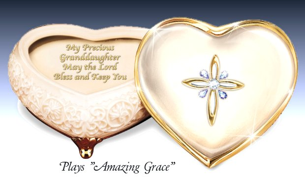 Porcelain Heart-Shaped Jeweled Music Box: My Blessed Granddaughter