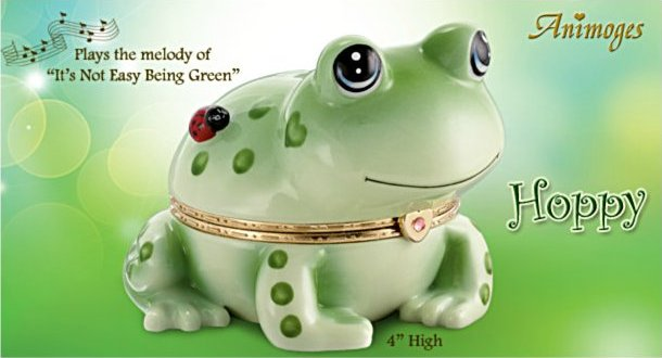 Hoppy Frog Heirloom Porcelain Animoges Music Box