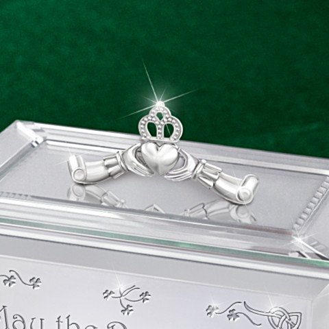 Irish Mirrored Music Box: Reflections Of An Irish Blessing - detail