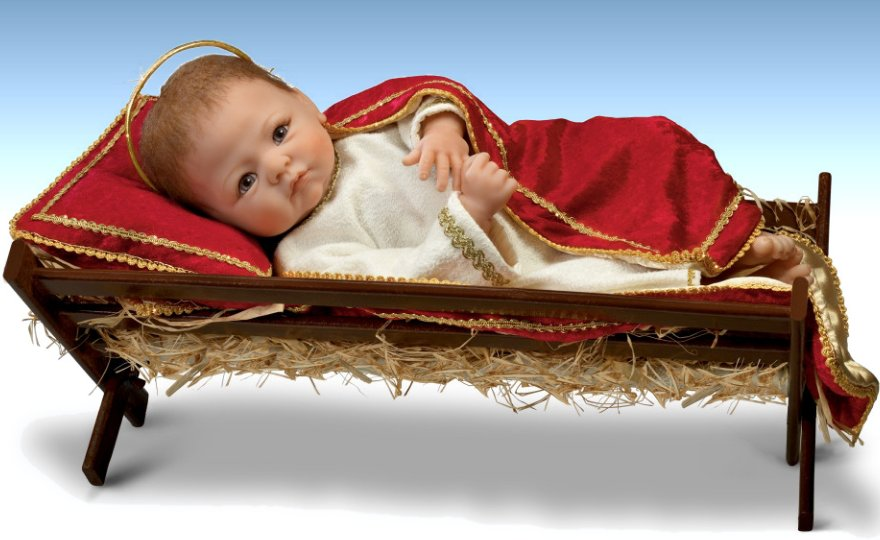 Jesus, The Savior Is Born Baby Jesus With Wooden Manger Nativity Doll