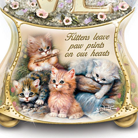 Jurgen Scholz Kittens Leave Pawprints On Our Hearts Hand-Painted Glitter Globe - detail