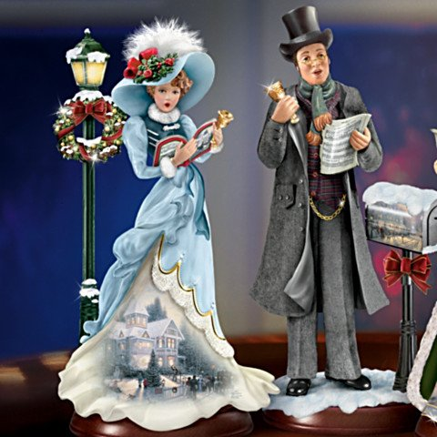 Thomas Kinkade Here We Come A-Caroling Figurine Collection - detail