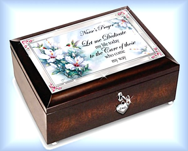 Lena Liu Nurse Prayer Personalized Music Box With Heart Charm