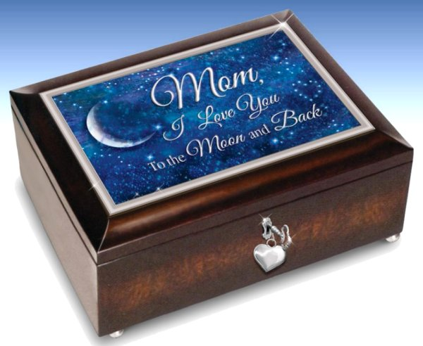 Mom, I Love You To The Moon And Back Handcrafted Music Box