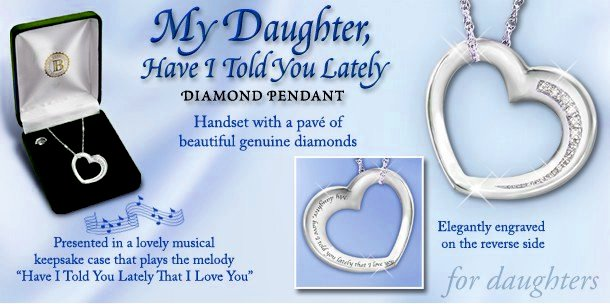 My Daughter Have I Told You Lately - Sterling Silver And Diamond Heart-Shaped Pendant Necklace with Musical Case