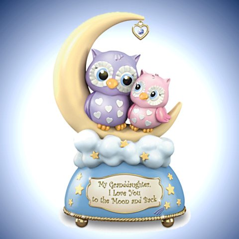 Illuminated Owl Music Box For Granddaughters With Poem Card - My Granddaughter, I Love You To The Moon And Back Music Box With Owls