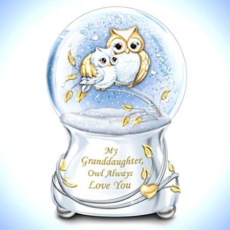 My Granddaughter, Owl Always Love You - Musical Glitter Globe
