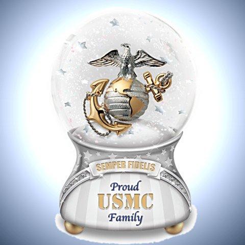 Proud USMC Family Musical Glitter Globe