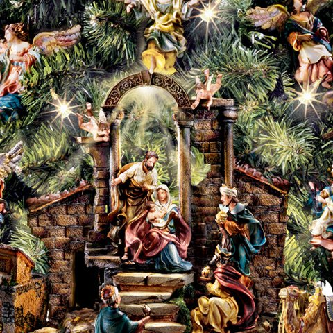 Tabletop Christmas Nativity Scene Christmas Tree Collection - detail