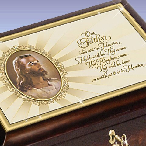 The Lord's Prayer Heirloom Head Of Christ Warner Sallman Music Box - detail