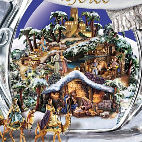 Thomas Kinkade Sn'O Holy Night Crystal Snow Angel Sculpture With Light, Music And Motion - detail