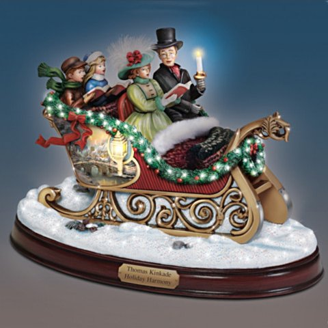 Thomas Kinkade Holiday Harmony Musical Sculpture - with light