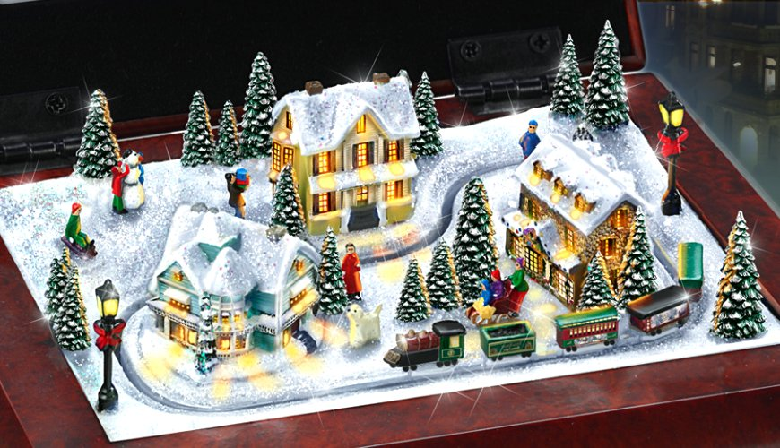 Thomas Kinkade Holiday Memories Lighted Village And Train Music Box