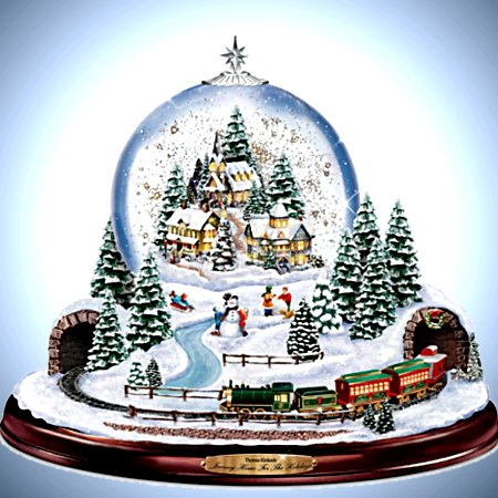 Thomas Kinkade Journey Home For The Holidays Illuminated Musical Snowglobe