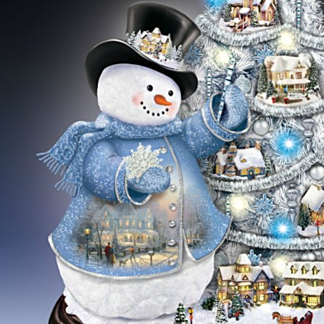 Thomas Kinkade Snowman Pre-Lit Christmas Tree: Sno' Place Like Home For The Holidays - detail