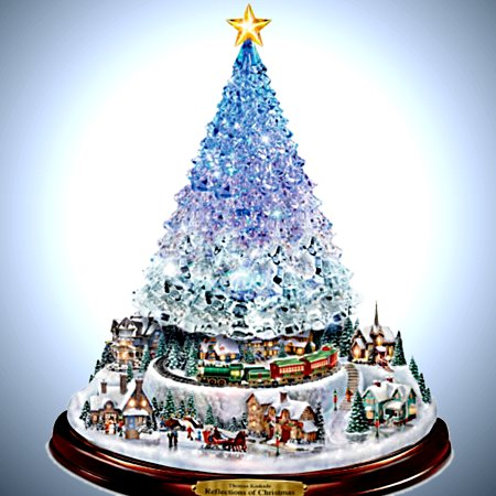 Thomas Kinkade Reflections Of Christmas Light Up Tabletop Tree With Music