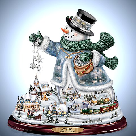 Thomas Kinkade Snowman Tabletop Centerpiece: Let It Snow