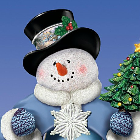 Thomas Kinkade T'is The Season To Be Jolly Christmas Musical Snowman Figurine: Lights Up!