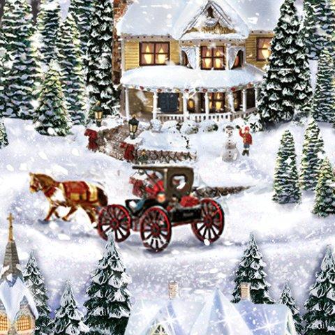 Thomas Kinkade Wondrous Winter Musical Snowman Snowglobe - Detail
