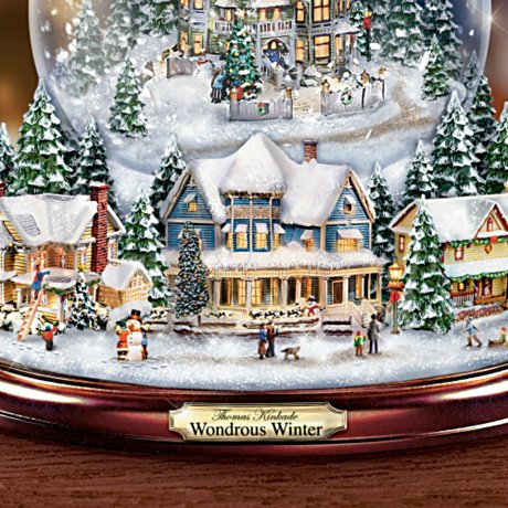 Thomas Kinkade Wondrous Winter - Musical Tabletop Christmas Tree With Snowglobe - detail