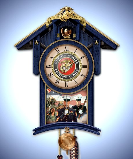 Semper Fi For All Time United States Marines Cuckoo Clock