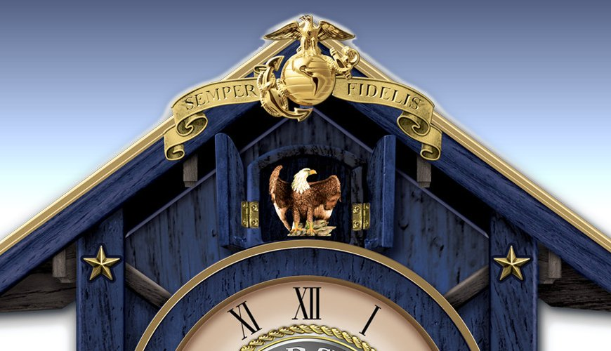 Semper Fi For All Time United States Marines Cuckoo Clock - detail